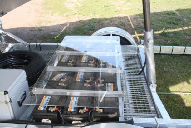 solar power generator on trailer with integrated batteries