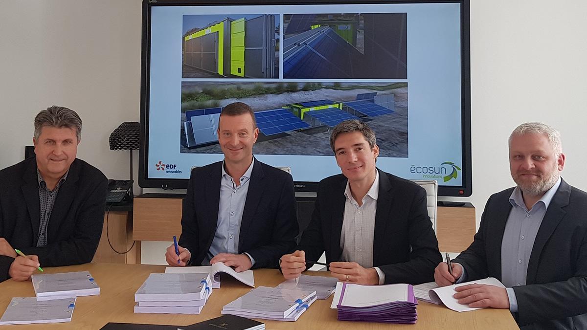 Signature du contrat entre ECOSUN Innovations et EDF Renouvelables