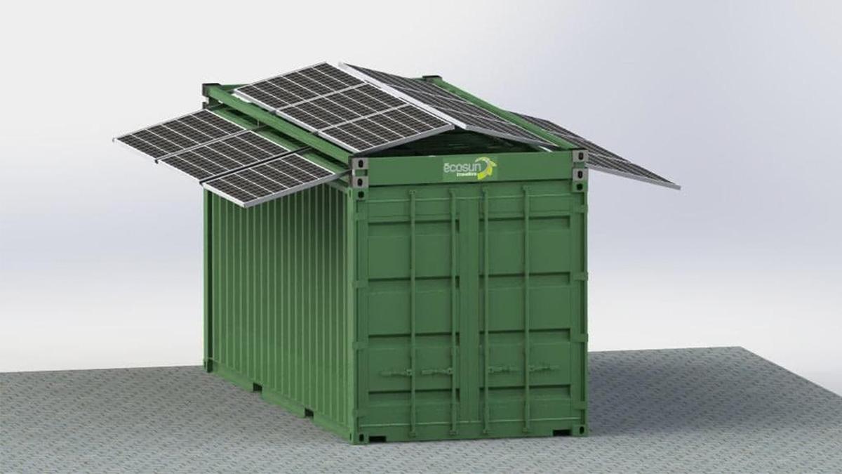 cadre solaire sur container